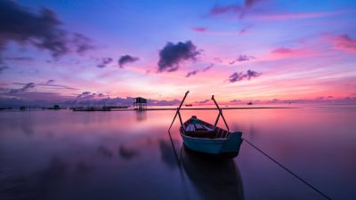 Rowing boat, Sunset, Body of Water, Beach, Reflection, Evening, Dawn, Ocean, Purple Sky, Clouds, Seascape, 5K