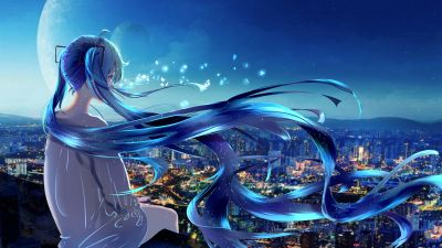 Anime girl, Alone, Fantasy, 5K