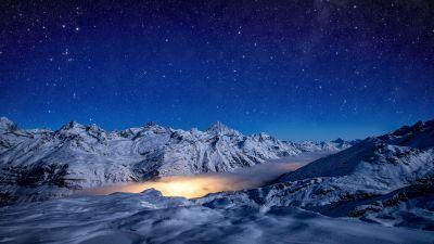 Gorner Glacier, Starry sky, Astronomy, Blue Sky, Switzerland
