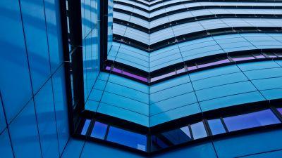 Rijn Tower, Modern architecture, Arnhem, Netherlands, Blue, Low Angle Photography, Pattern, Urban, Metropolitan, 5K