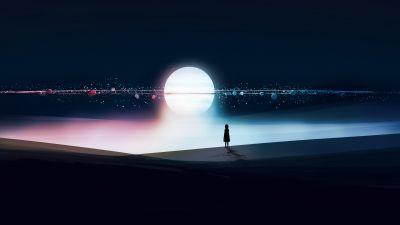 Surreal, Alone, Silhouette, Orbit, Dream, Dark background, 5K, 8K