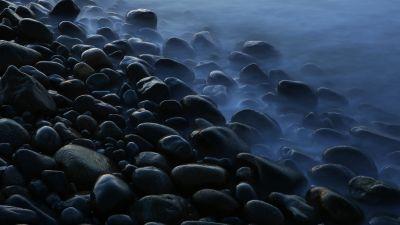 Stones, Pebbles, Seashore, Foggy, Mist, Dark, 5K