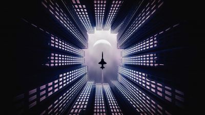 Jet fighter, Moon, Buildings, Looking up at Sky, 5K