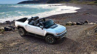 GMC Hummer EV, Electric SUV, Beach, Sunset, Luxury SUV, Electric trucks, 2022, 5K