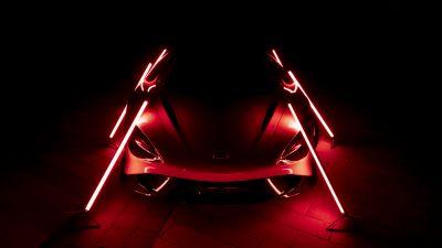 McLaren 765LT, Supercars, Dark background, 2021, Aesthetic, 5K