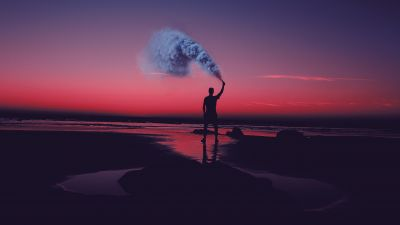 Silhouette, Seashore, Pink sky, Man, Standing, Smoke can, Sunset, Evening sky, Aesthetic, 5K