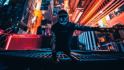 Hong Kong City, Neon Mask, Rooftop, Cityscape, Nightscape, Persons in Mask, City lights, Aerial view, Skyscrapers, 5K
