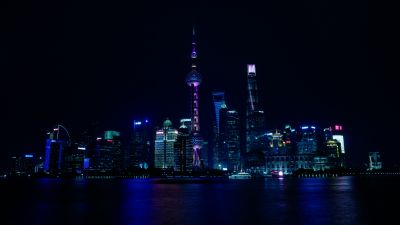 Shanghai City, China, Cityscape, Body of Water, Reflection, Night time, City lights, Skyscrapers, Dark background, 5K