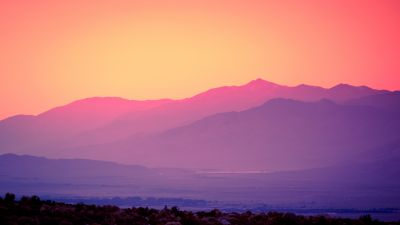 Pink sky, Sunset, Gradient, Mountains, Landscape, Beautiful, Scenery, Clear sky, 5K