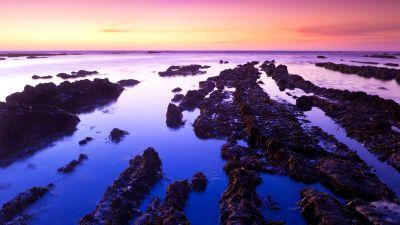 Fitzgerald marine reserve, California, USA, Moss Beach, Rocks, Sunset, Purple sky, Landscape, Seascape, Body of Water, Ocean, Horizon, Clear sky, 5K