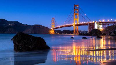 Golden Gate Bridge, Reflection, Body of Water, Night lights, Blue Sky, Clear sky, Landscape, Dusk, Rocks, 5K