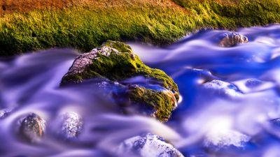 Green Moss, Water Stream, Long exposure, Close up, Rock, Purple, 5K