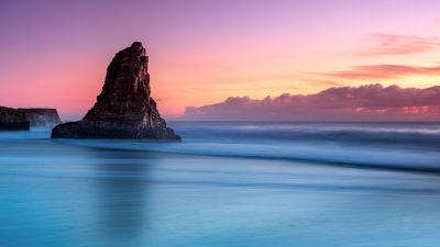 Ocean blue, Purple sky, Clouds, Seascape, Davenport, California, United States, Scenery, Sunset, Island, Cliff, 5K, 8K