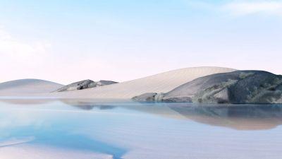Desert, Lake, Clear sky, Ice Blue, Microsoft Surface Go, Bright, Stock