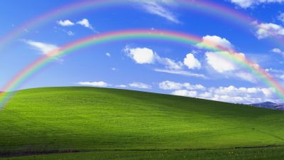 Windows XP, Bliss, Landscape, Rainbow, Blue Sky, 5K