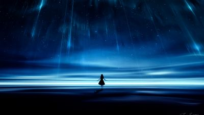 Falling stars, Star trail, Surreal, Woman, Alone, Dream, Night, Blue, Starry sky
