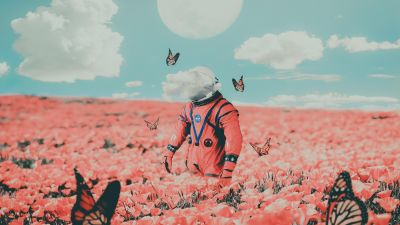 Astronaut, NASA, Flower garden, Butterflies, Surreal, Moon, Clouds, Space suit, 5K