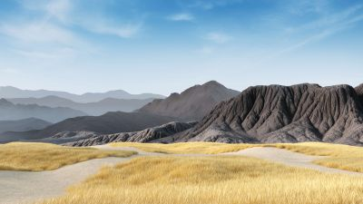 Mountains, Clear sky, Grass field, Landscape, Microsoft Surface Hub 2, Stock