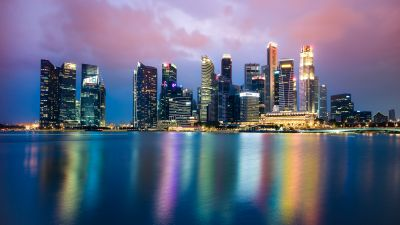 Singapore, Cityscape, Buildings, Skyscrapers, Reflection, Body of Water, Night, City lights, Skyline, Colorful, 5K