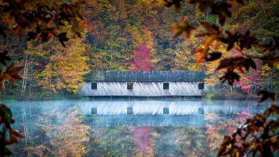 Cambron Covered Bridge, Huntsville, Alabama, Reflection, River, Autumn, Trees, 5K, 8K
