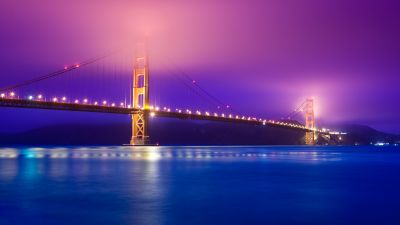 Golden Gate Bridge, San Francisco, California, Scenic, Pink sky, Blue, Body of Water, Pacific Ocean, Night lights, Reflection, 5K