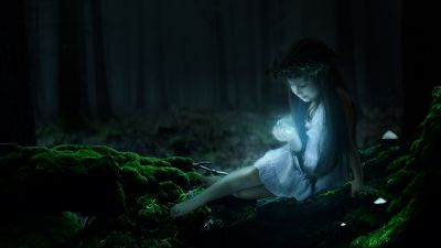Cute Girl, Enchanted, Forest, Magical, Surreal, Glowing, Smiling girl, Fairy, Night, Dark