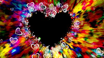 Love hearts, Colorful, Abstract, Aesthetic, 5K