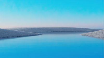 Lake, Clear sky, Blue Sky, Windows 10X, Microsoft Surface, Landscape, Aesthetic