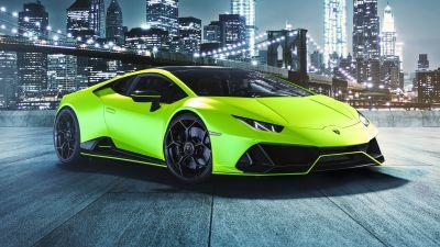 Lamborghini Huracan EVO Fluo Capsule, Brooklyn Bridge, Night, New York City, 2021
