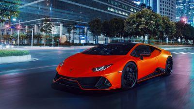 Lamborghini Huracan EVO Fluo Capsule, Night, Cityscape, New York City, 2021