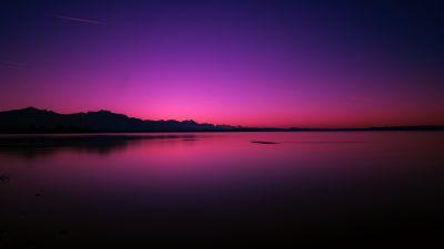 Sunset, Lake, Dusk, Purple sky, Reflection, Dawn, Body of Water, Dark, Backlit