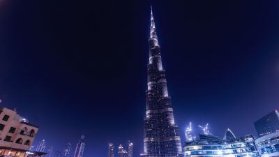 Burj Khalifa, Dubai, United Arab Emirates, Modern architecture, Night time, Cityscape, City lights, Skyscrapers