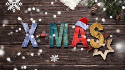 Christmas, Wood, Snowflakes, Star, Xmas, Xmas background, Christmas decoration, Santa Claus Hat, 5K, 8K