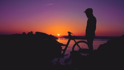 Sunset, Silhouette, Man, Hoodie, Evening, Dusk, Twilight, Horizon, Alone, 5K