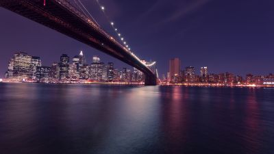 Brooklyn Bridge, New York, United States, Body of Water, Cityscape, Night time, City lights, Reflection, Skyscrapers, City Skyline
