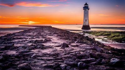 Lighthouse, Beach, Rocky coast, Sunset, Blue hour