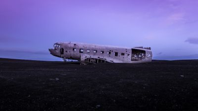 Crashed Airplane, Douglas DC-3, Wrecked, Abandoned, World War II, Fuselage, Purple sky
