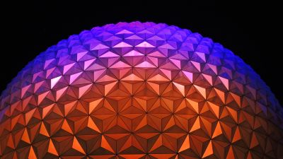 Spaceship Earth, Walt Disney World Resort, Florida, Dome, Purple, Vibrant, Geometrical, Pattern, Symmetrical, Shapes, Exterior, Modern architecture