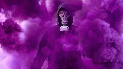 Gas mask, Hoodie, Person in Black, Purple Smoke, Protective Gear, 5K