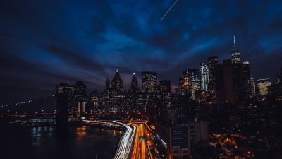 New York City, United States, Cityscape, Night time, City lights, Metropolitan, Dark background, Skyscrapers, Light Trails, Dark clouds, Blue Sky, 5K