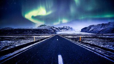 Aurora Borealis, Road, Mountains, Snow covered, Glacier, Landscape, Starry sky, Beautiful, Iceland, 5K
