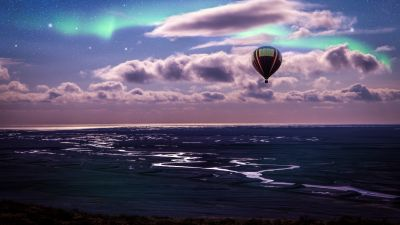 Hot air balloon, Aurora Borealis, Northern Lights, Clouds, Landscape, Dusk, Starry sky, 5K