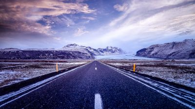 Road, Mountains, Snow covered, Glacier, Landscape, Beautiful, Iceland, Clouds, Calm, 5K