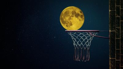 Full moon, Basketball ring, Night sky, Illustration, Dark background, Stars