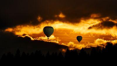 Hot air balloons, Sunset, Flying, Travel, Vacation, Dusk, Adventure, Dark clouds, Dark background, 5K, 8K