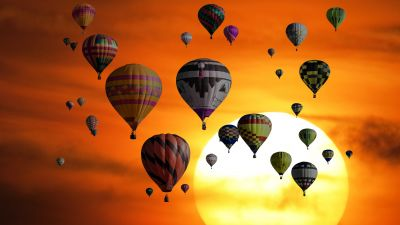 Hot air balloons, Sunset, Orange sky, Travel, Vacation, Holidays, Adventure, Sky view