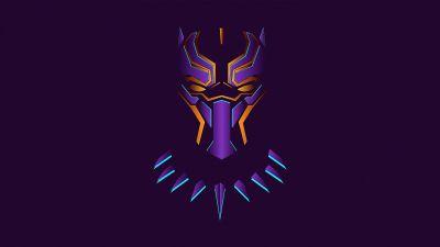 Black Panther, Purple background, Minimal art