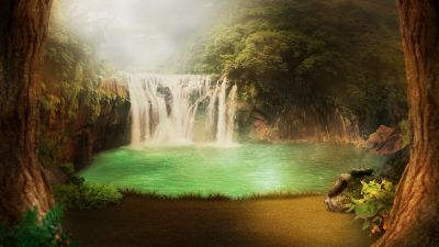 Waterfall, Forest, Mystery, Lake, Scenic, Surreal, Foggy, 5K