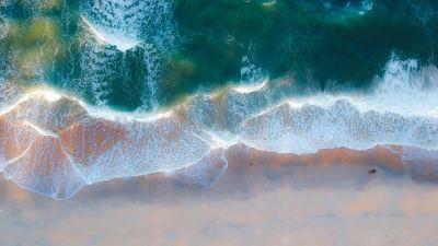 Beach, Coastal, Ocean, Blue Water, Aerial view, Birds eye view, Sand, Seascape, Waves