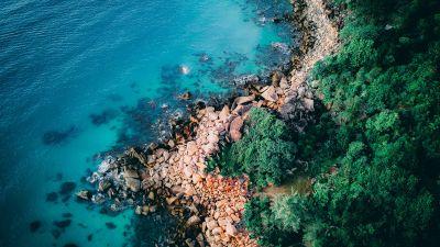 Seashore, Coastline, Rocks, Green Trees, Blue Water, Ocean, Aerial view, Birds eye view, Scenery, Landscape